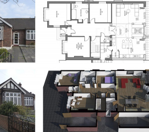 Architect designed residential extension Stoneleigh KT17 – Proposed floor plan 300x266 Stoneleigh KT17 | Extension and alterations to a bungalow