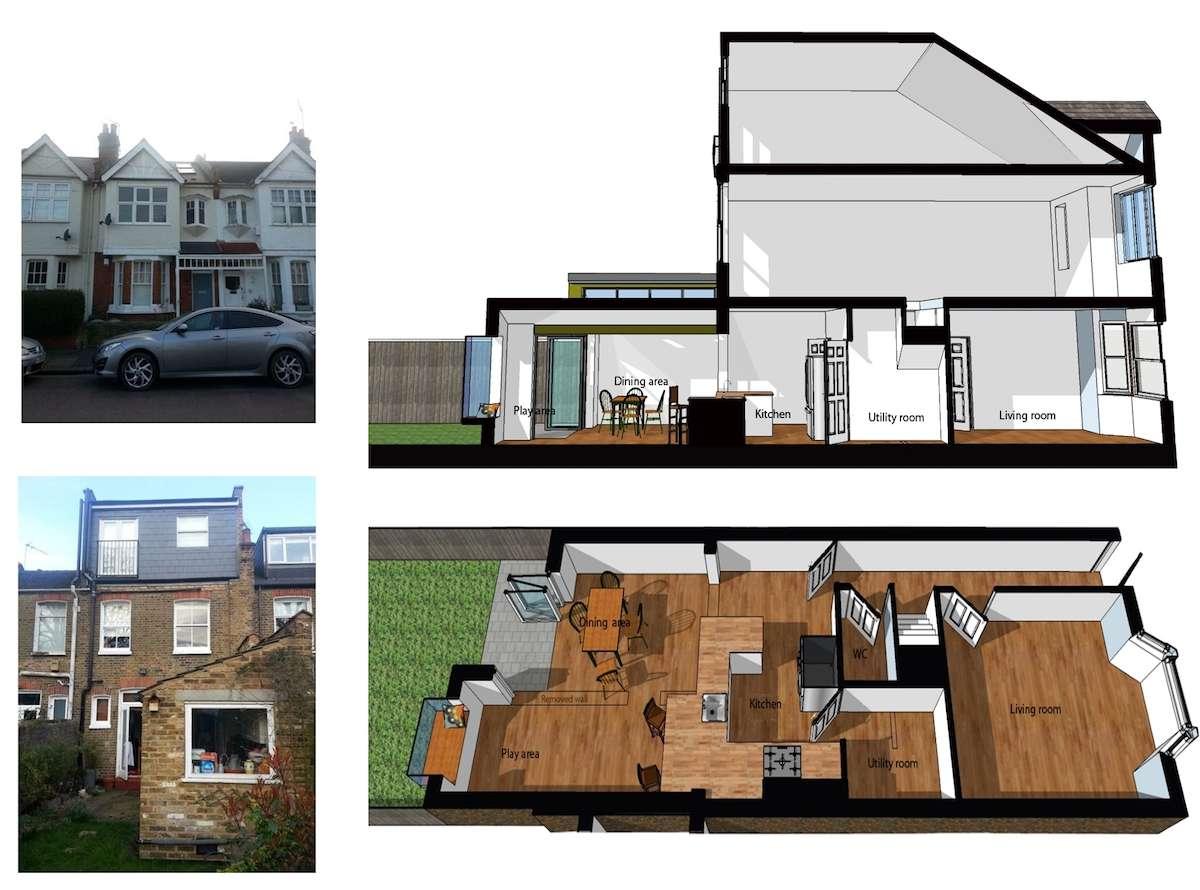 Barnes Richmond SW14 Rear house kitchen extension 3D images 1 Barnes, Richmond SW14 | Rear house kitchen extension