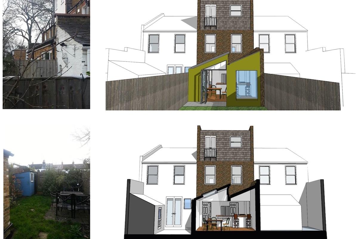 Barnes Richmond SW14 Rear house kitchen extension 3D images and photos 1 1200x800 Barnes, Richmond SW14 | Rear house kitchen extension