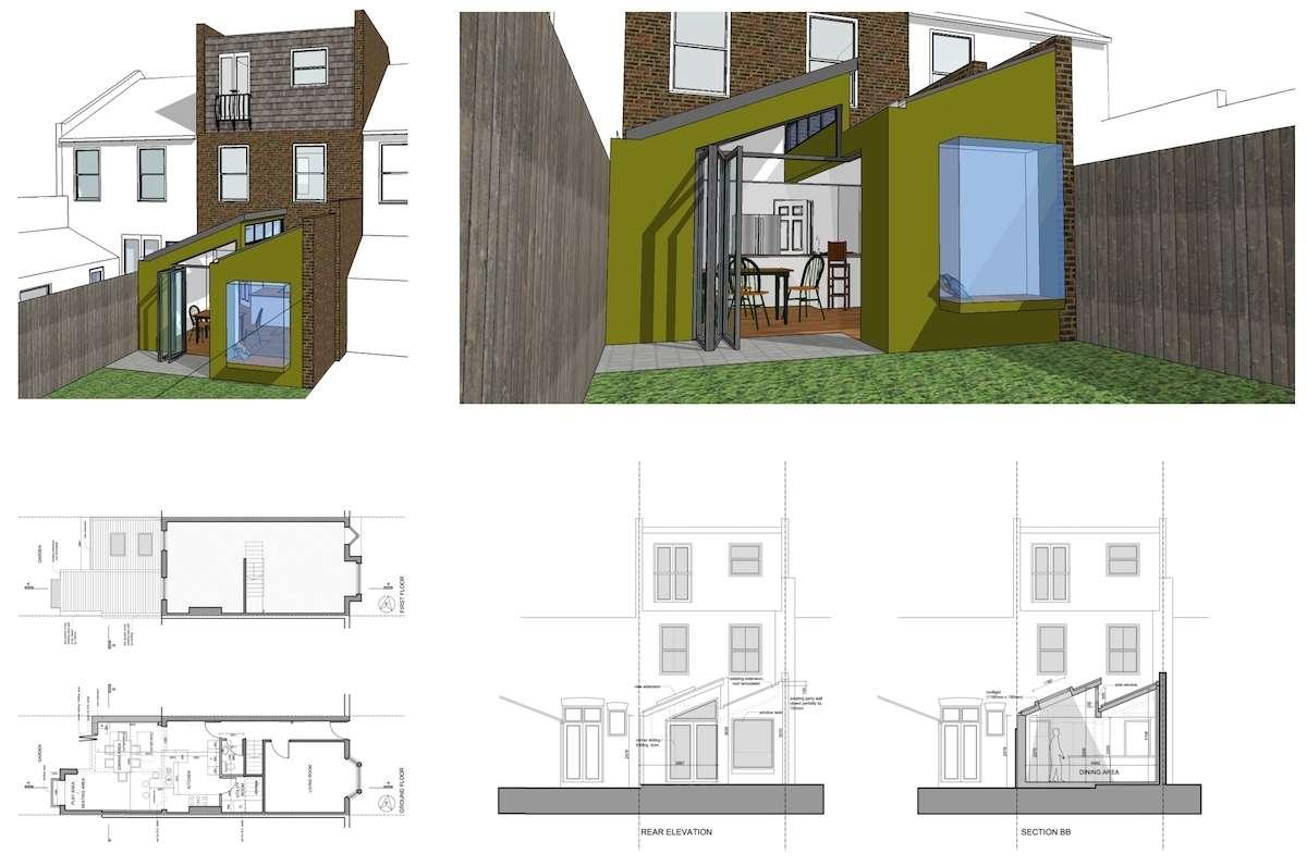 Barnes Richmond SW14 Rear house kitchen extension 3D images and plans 1 Barnes, Richmond SW14 | Rear house kitchen extension