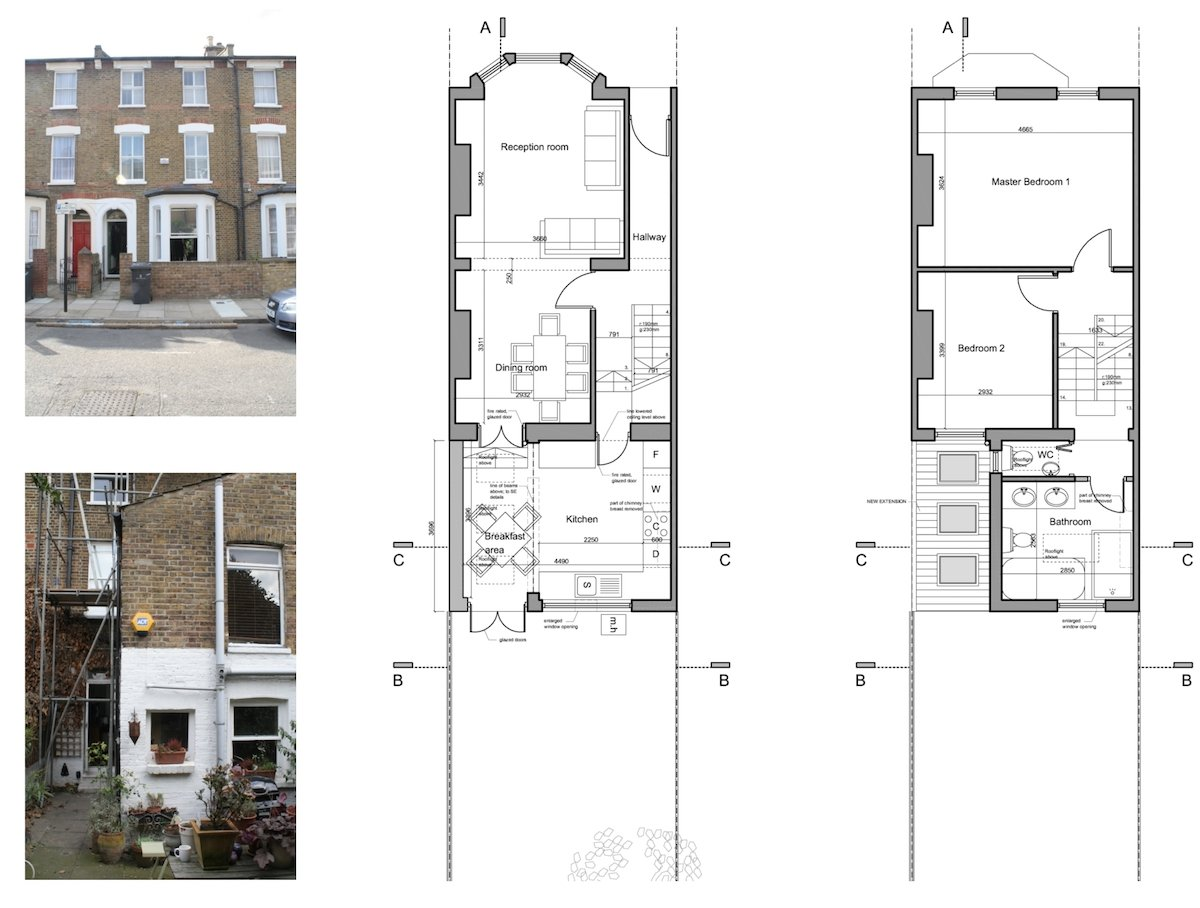 Clapham North Lambeth SW4 House extension Design floor plans Clapham North, Lambeth SW4   House extension