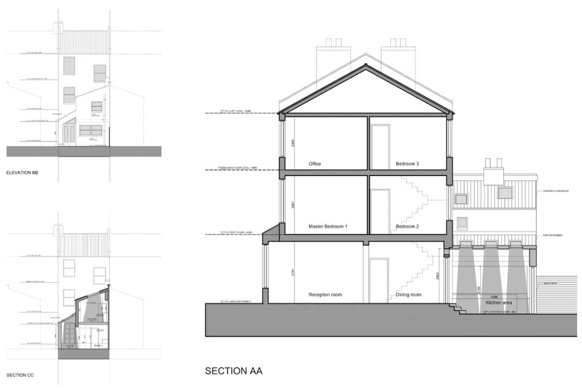 Clapham North Lambeth SW4 House extension Design sections and elevations 1200x800 Clapham North, Lambeth SW4 | House extension