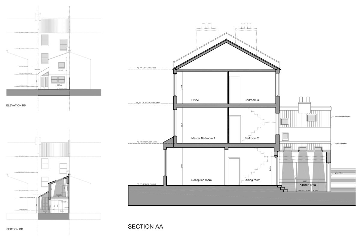 Clapham North Lambeth SW4 House extension Design sections and elevations Clapham North, Lambeth SW4   House extension