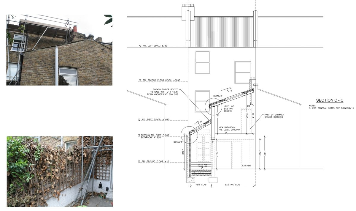 Clapham North Lambeth SW4 House extension Technical section Clapham North, Lambeth SW4   House extension