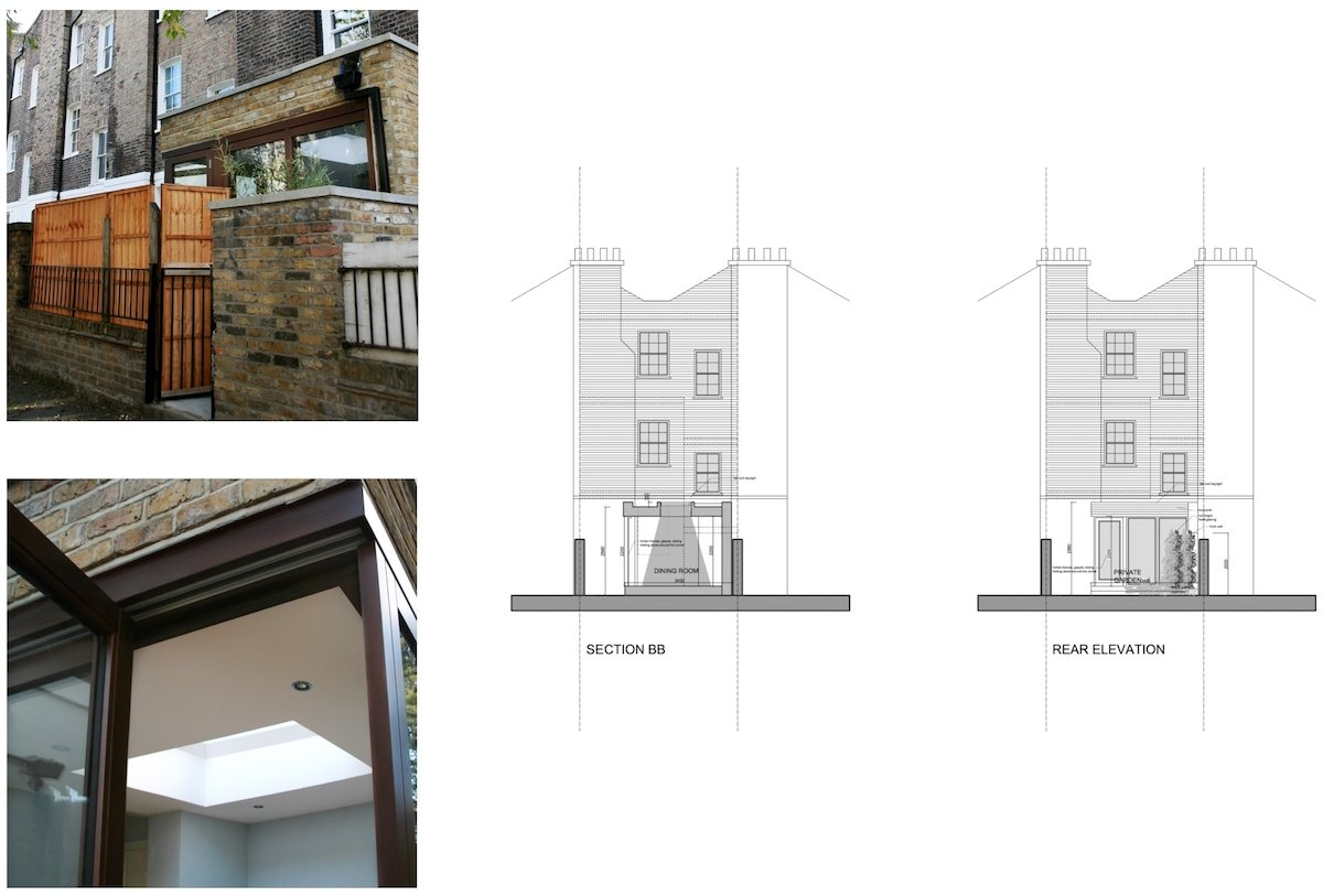 Kings Cross Camden NW1 House extension Design rear elevation and section King's Cross, Camden NW1 | House extension