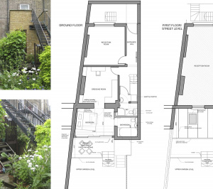 Kings Cross Islington WC1 – Listed Building rear flat extension – Floor plans 300x266 Kings Cross, Islington WC1 | Grade II Listed flat extension