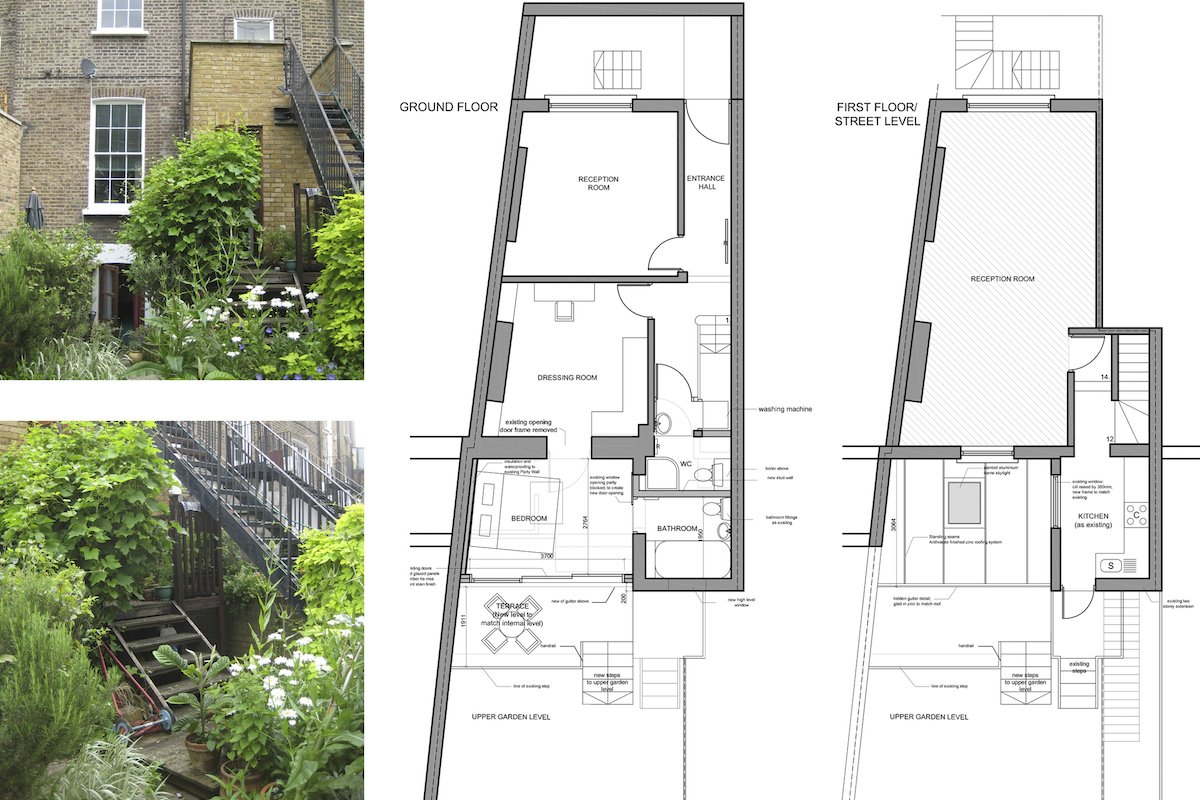 Kings Cross Islington WC1 – Listed Building rear flat extension – Floor plans Kings Cross, Islington WC1 | Grade II Listed flat extension