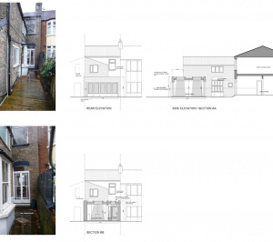 Newham E7 – House extension Sections and elevations 300x266 Newham, E7 | House extension