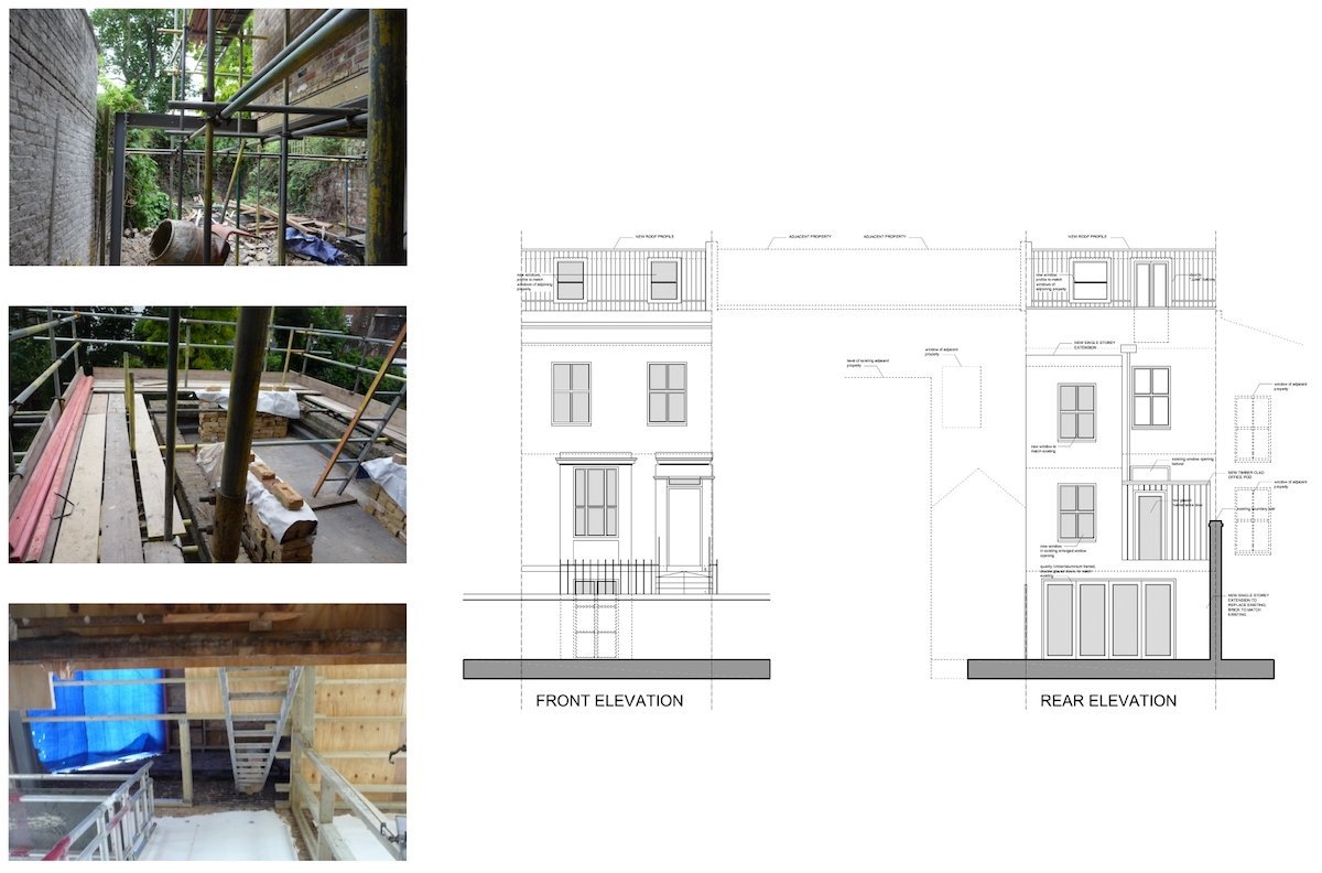 Shepherds Bush Hammersmith Fulham W14 House extension Design front and rear elevations Shepherd's Bush, Hammersmith Fulham W14 | House extension