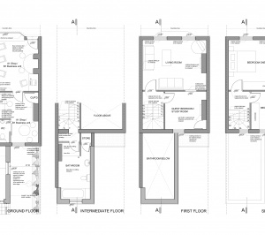 Angel Islington EC1 Listed house extension Floor plans 300x266 Angel, Islington EC1 | Listed house extension