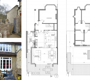 Architect designed house extension Grange Park Enfield N21 Floor Plans 300x266 Grange Park, Enfield N21 | House extension and alterations