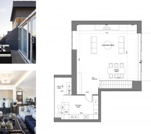 St James Park Westminster SW1H Penthouse alterations and refurbishment Floor plan and living areas 2 300x266 St James Park, Westminster SW1H | Penthouse alterations and refurbishment