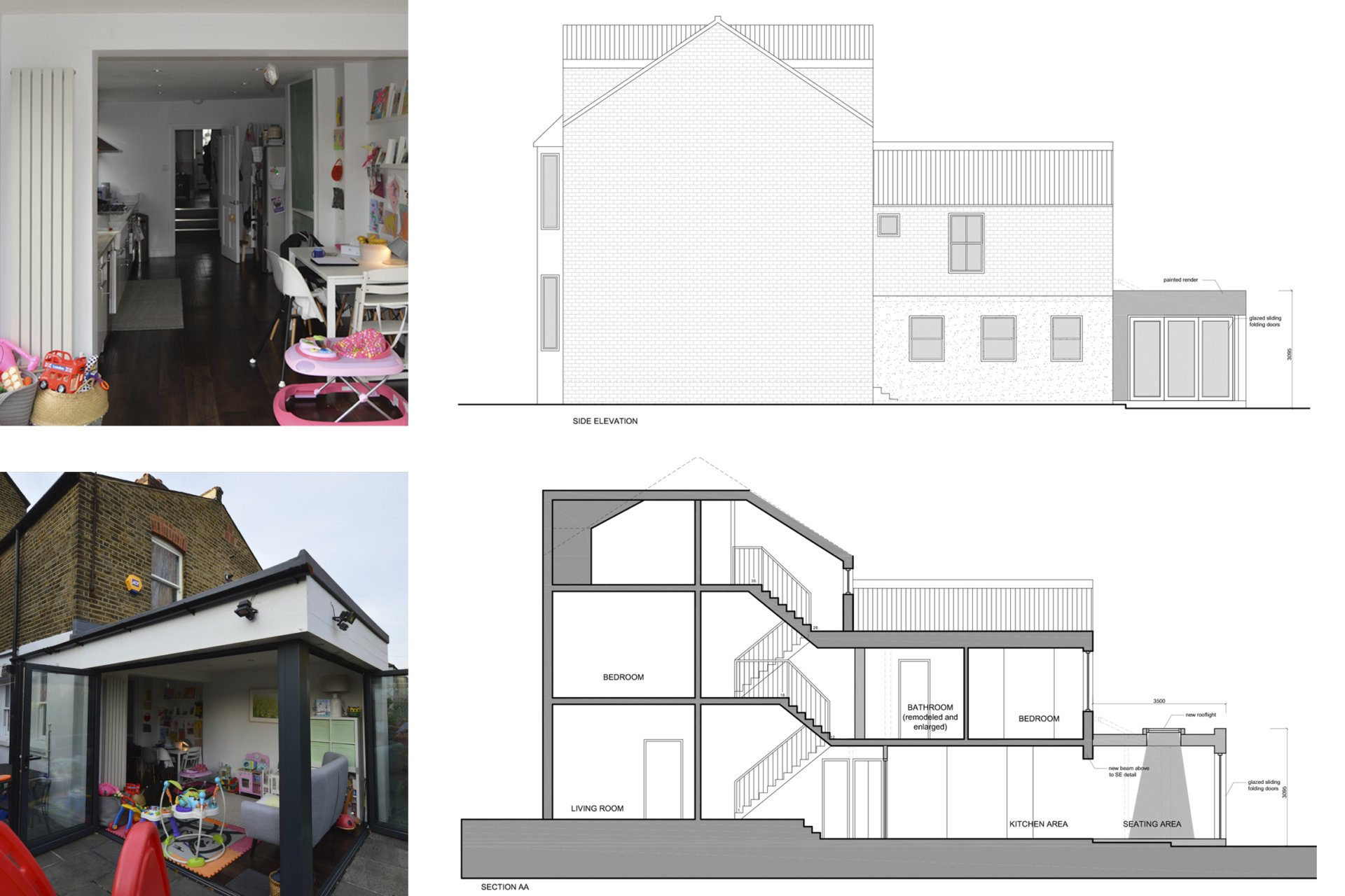 Architect designed rear house extension Penge east Bromley SE26 Elevation and section drawing Penge East, Bromley SE26 | Rear house extension