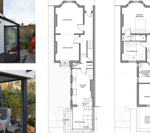 Architect designed rear house extension Penge east Bromley SE26 Floor plan drawings 300x266 Penge East, Bromley SE26 | Rear house extension