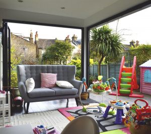 Architect designed rear house extension Penge east Bromley SE26 View from play area 1 300x266 Penge East, Bromley SE26 | Rear house extension