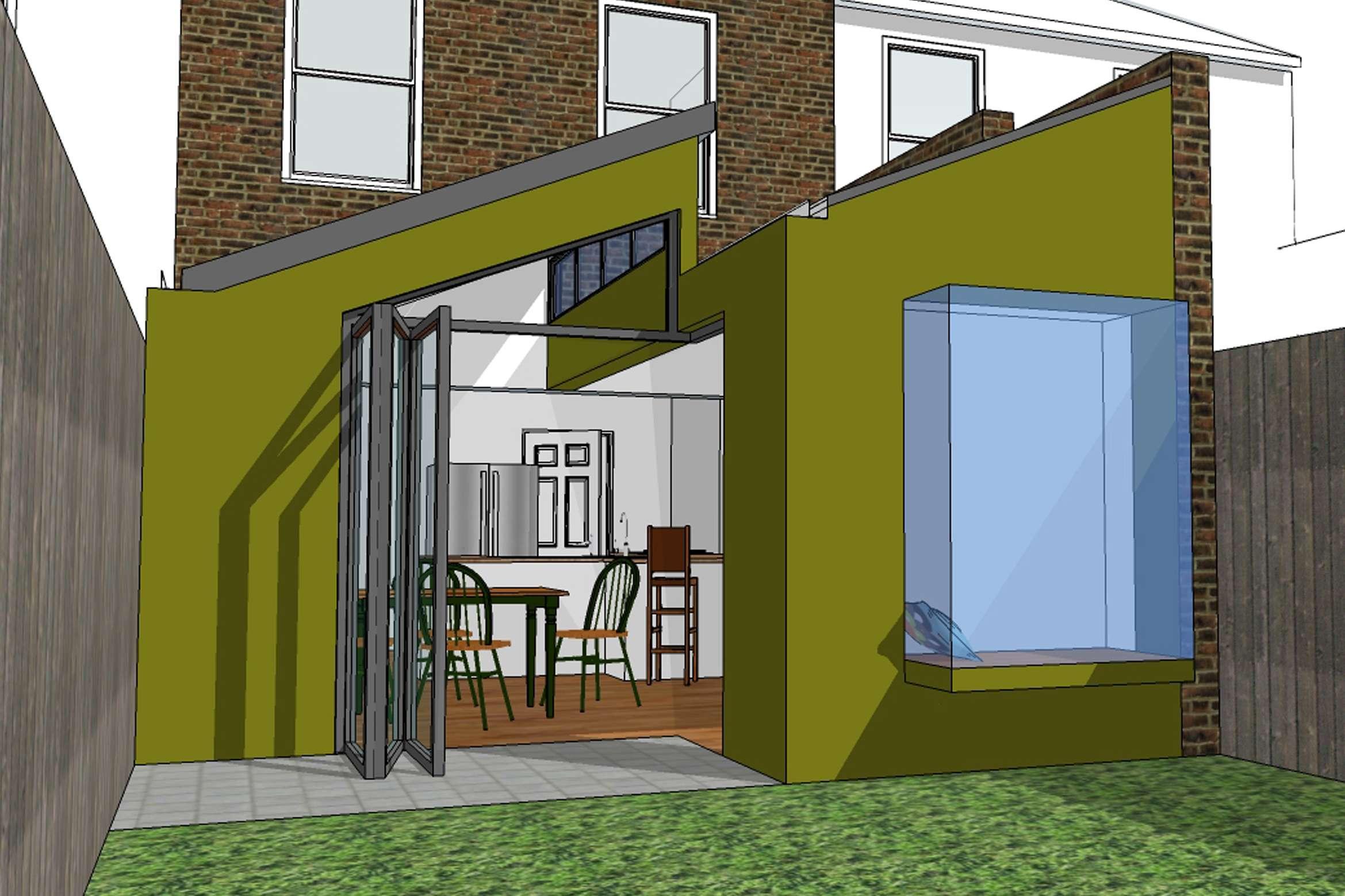 Barnes Richmond SW14 – Rear house kitchen extension – 3D image Barnes, Richmond SW14 | Rear house kitchen extension