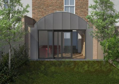Angel Islington N1 Listed House rear extension – 3D Main rear elevation 400x284 Filterable Portfolio of Residential Architecture Projects