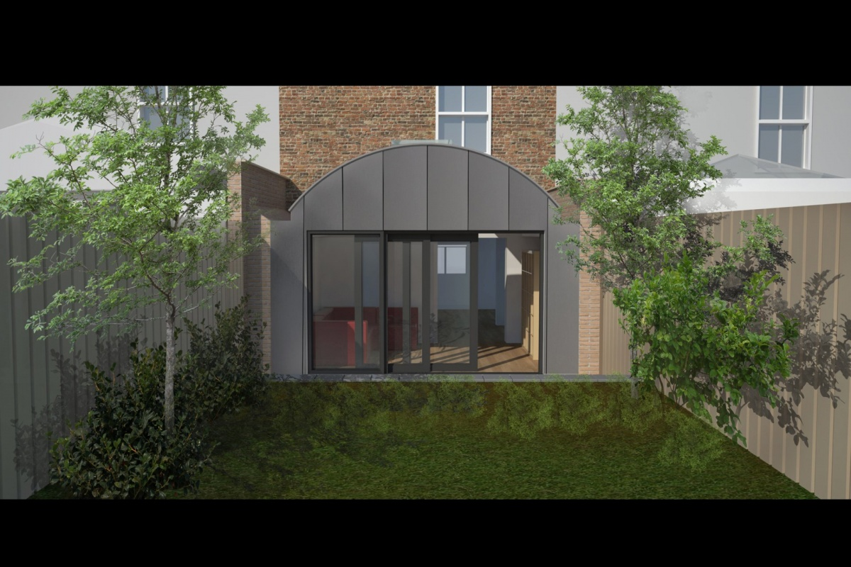 Angel Islington N1 Listed House rear extension – 3D Rear elevation 1200x800 Angel, Islington N1 | Listed house rear extension