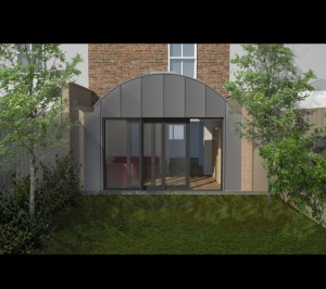 Angel Islington N1 Listed House rear extension – 3D Rear elevation 300x266 Angel, Islington N1 | Listed house rear extension