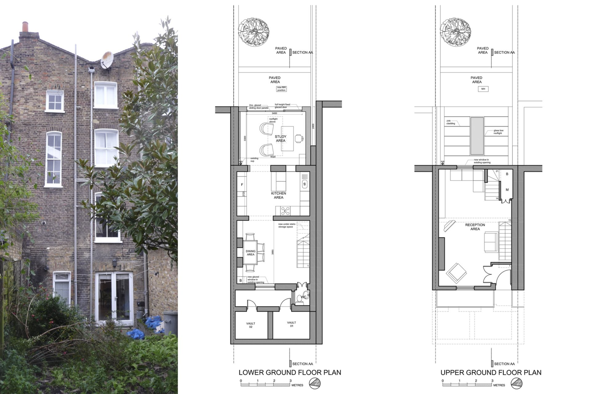 Angel Islington N1 Listed House rear extension – Floor plans and existing photo Angel, Islington N1 | Listed house rear extension