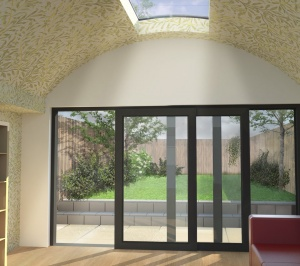 Angel Islington N1 Listed House rear extension – View from inside 300x266 Angel, Islington N1 | Listed house rear extension