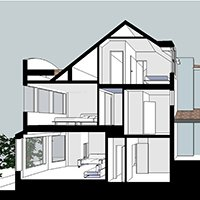 Architect designed house extension Highgate II Haringey N8 Section 200x200 Highgate, Haringey N6 | Rear house extension