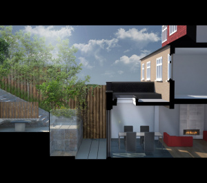 Architect designed rear house extension Highgate Haringey N6 – 3D Section  300x266 Highgate, Haringey N6 | Rear house extension
