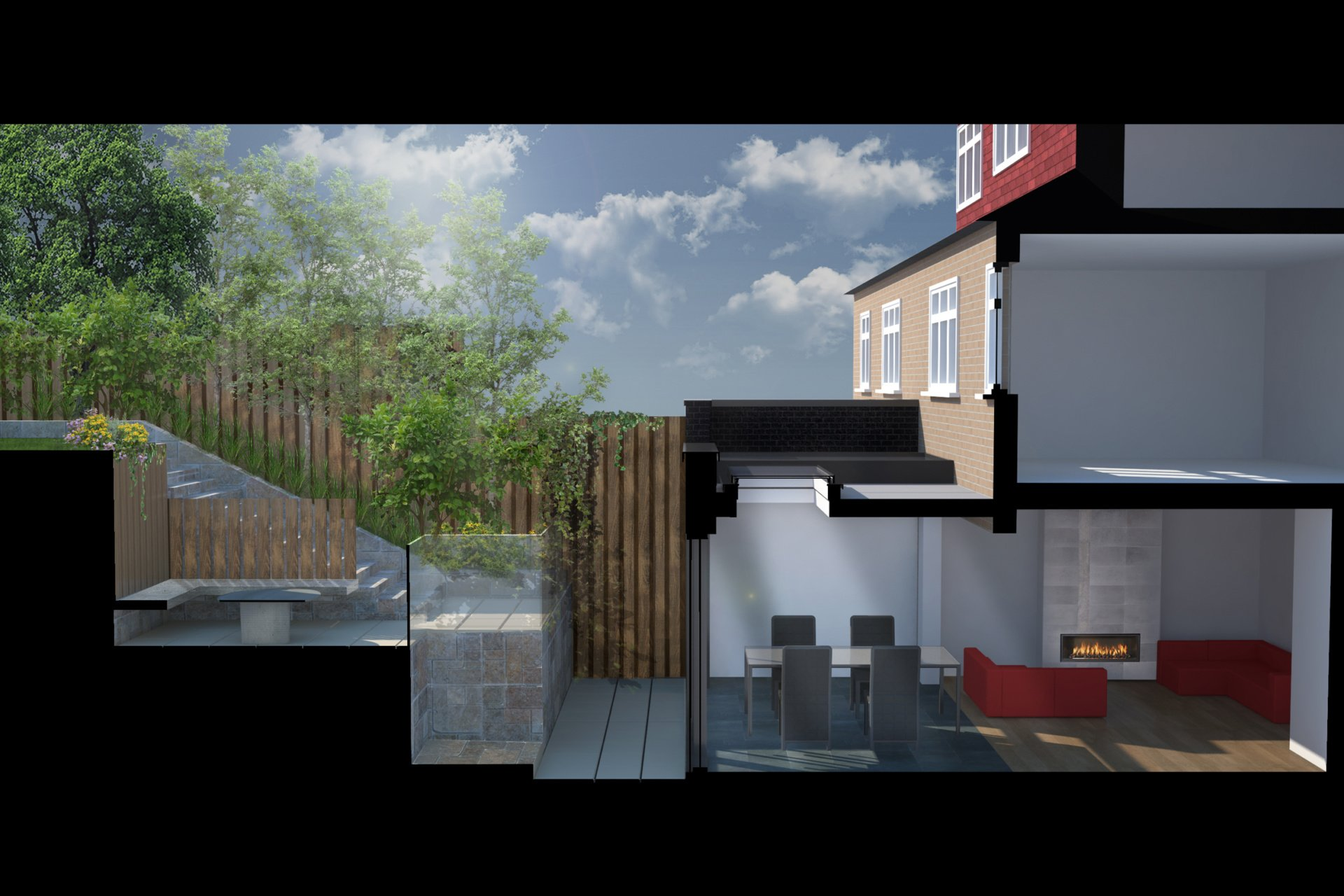 Architect designed rear house extension Highgate Haringey N6 – 3D Section  Highgate, Haringey N6 | Rear house extension