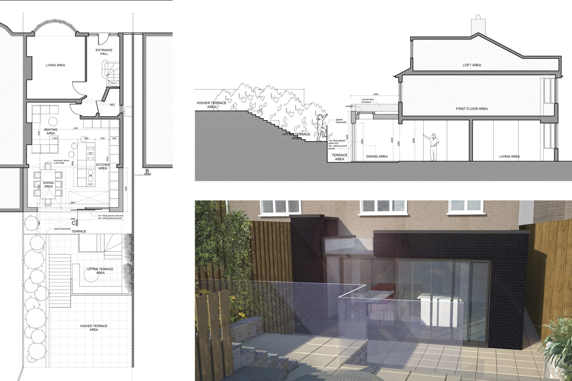 Architect designed rear house extension Highgate Haringey N6 – Floor plan Highgate, Haringey N6 | Rear house extension