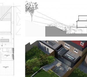 Architect designed rear house extension Highgate Haringey N6 – Section and 3D 300x266 Highgate, Haringey N6 | Rear house extension
