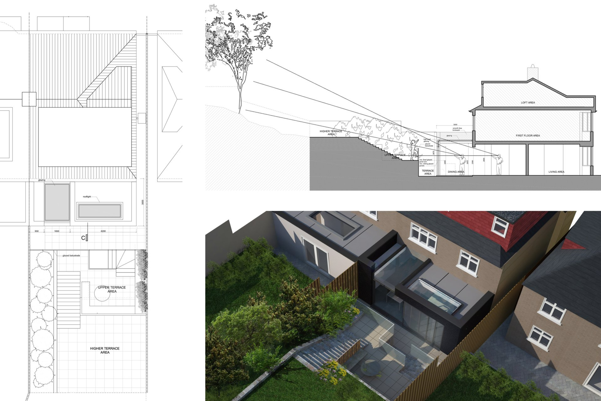 Architect designed rear house extension Highgate Haringey N6 – Section and 3D Highgate, Haringey N6 | Rear house extension