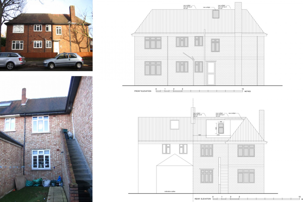 Architect designed roof flat extension Chiswick Hounslow W4 Elevations 1200x800 Chiswick, Hounslow W4   Roof extension to a flat