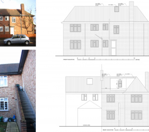 Architect designed roof flat extension Chiswick Hounslow W4 Elevations 300x266 Chiswick, Hounslow W4   Roof extension to a flat
