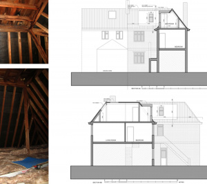 Architect designed roof flat extension Chiswick Hounslow W4 Sections 300x266 Chiswick, Hounslow W4 | Roof extension to a flat