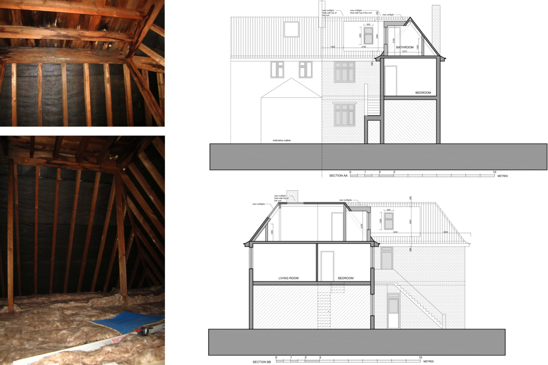 Architect designed roof flat extension Chiswick Hounslow W4 Sections Chiswick, Hounslow W4 | Roof extension to a flat