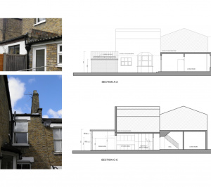 Nunhead Lewisham SE15 house kitchen extension – Architectural sections 300x266 Nunhead, Lewisham SE15 | House kitchen extension