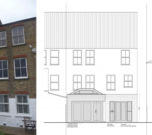 Architect designed garden flat extension Tooting Broadway Wandsworth SW17 Rear elevation 1 300x266 Tooting Broadway, Wandsworth SW17 | Garden flat extension