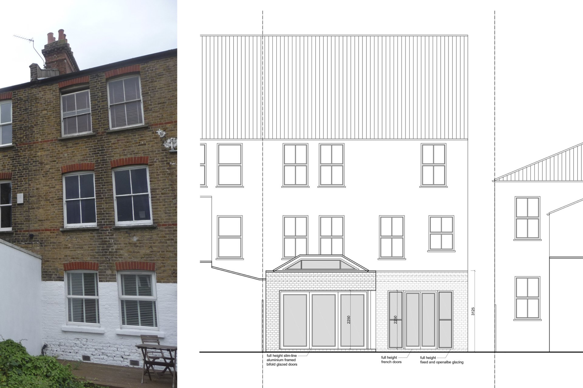 Architect designed garden flat extension Tooting Broadway Wandsworth SW17 Rear elevation 1 Tooting Broadway, Wandsworth SW17 | Garden flat extension