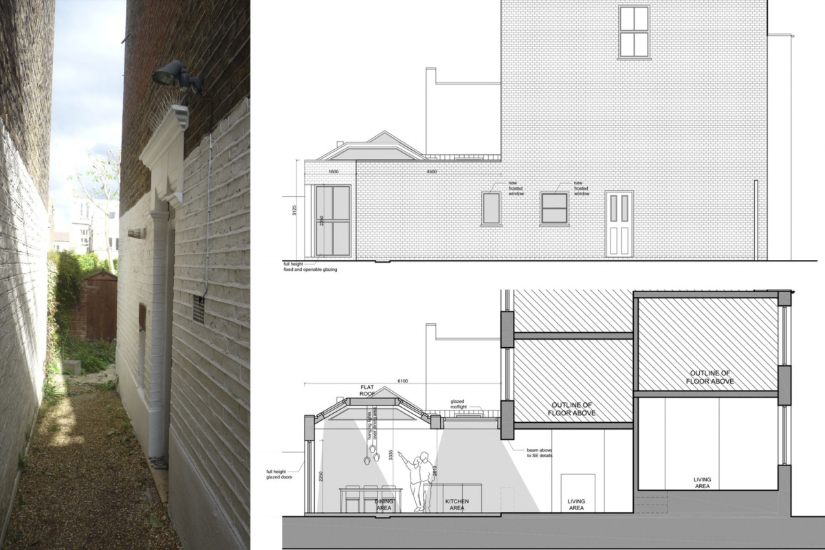 Architect designed garden flat extension Tooting Broadway Wandsworth SW17 Section and elevation 1 1200x800 Tooting Broadway, Wandsworth SW17 | Garden flat extension