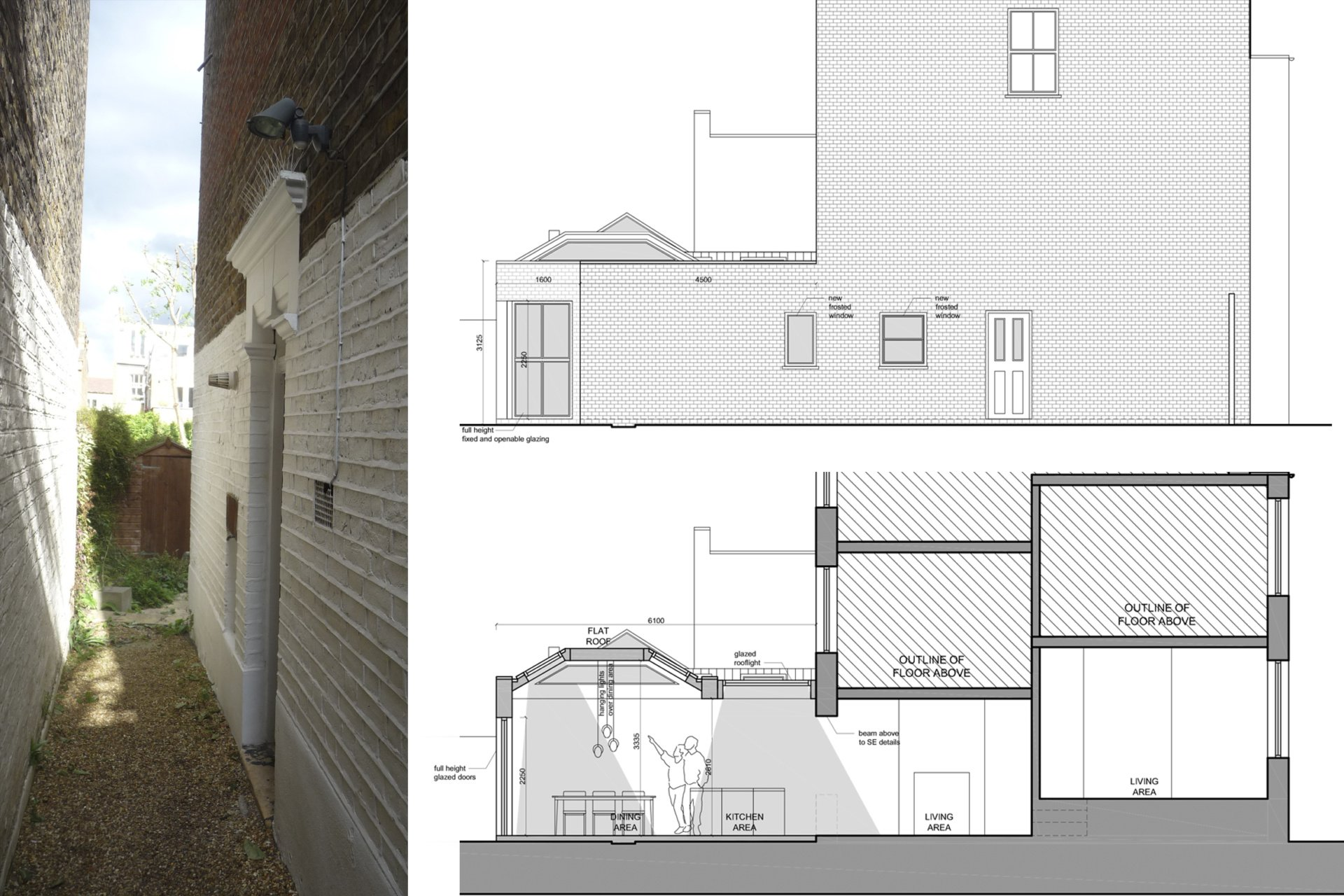 Architect designed garden flat extension Tooting Broadway Wandsworth SW17 Section and elevation 1 Tooting Broadway, Wandsworth SW17 | Garden flat extension