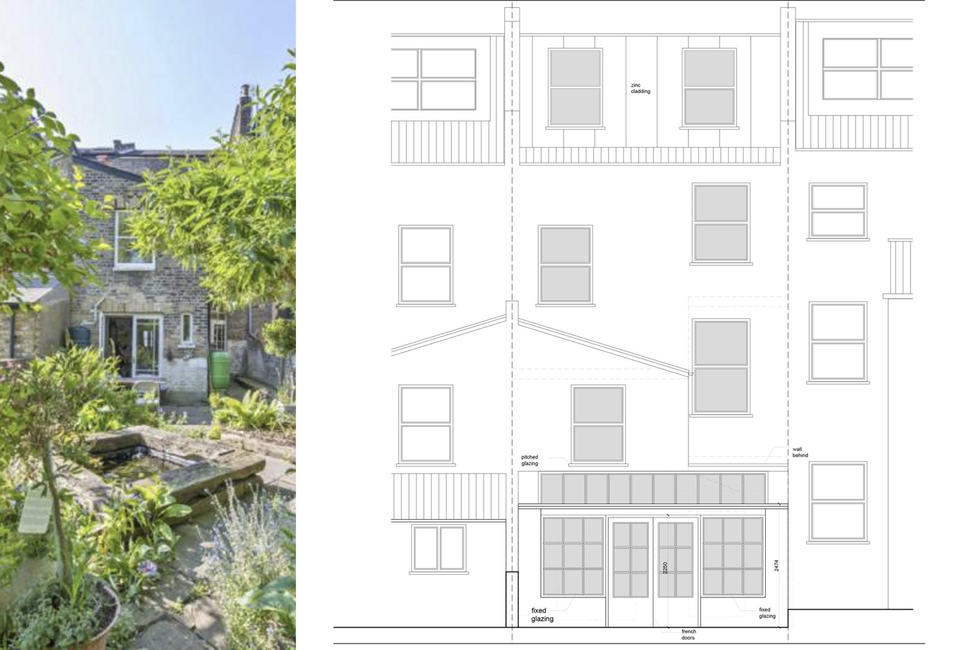 Architect designed kitchen and roof house extension Arsenal Islington N5 Rear elevation 1 Arsenal, Islington N5 | Kitchen and roof house extension