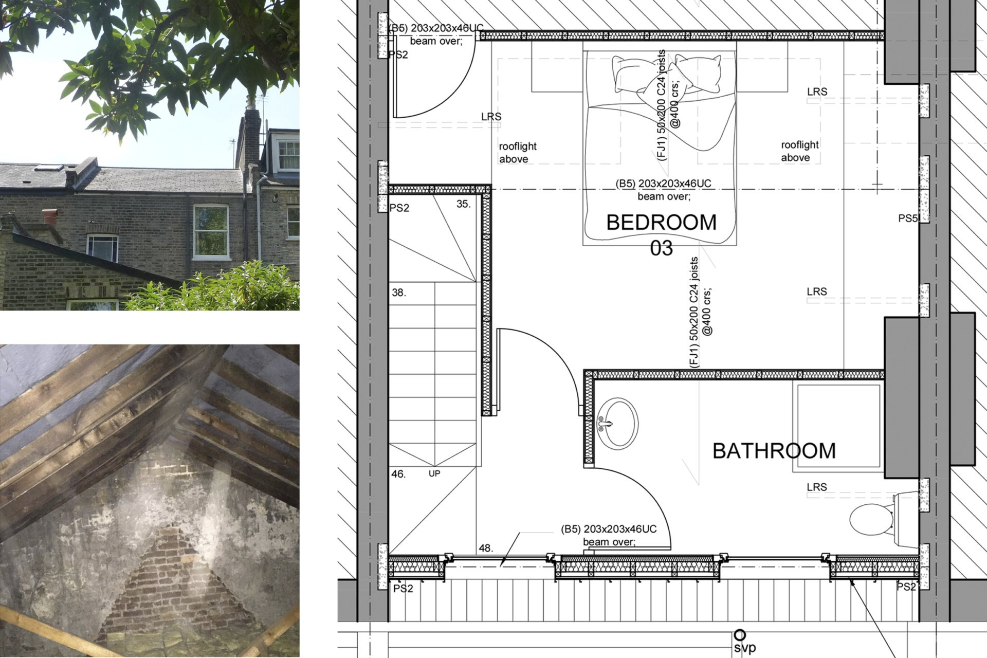 Architect designed kitchen and roof house extension Arsenal Islington N5 Roof floor 1 Arsenal, Islington N5 | Kitchen and roof house extension
