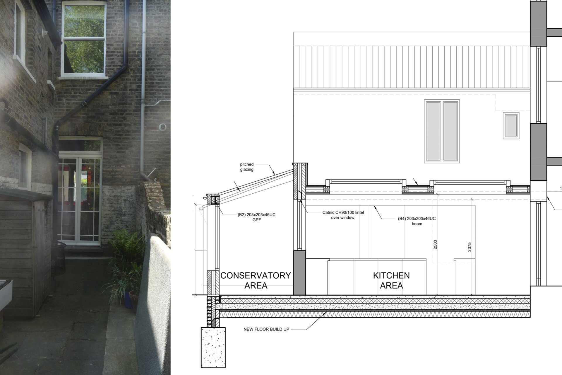 Architect designed kitchen and roof house extension Arsenal Islington N5 Section 1 Arsenal, Islington N5 | Kitchen and roof house extension