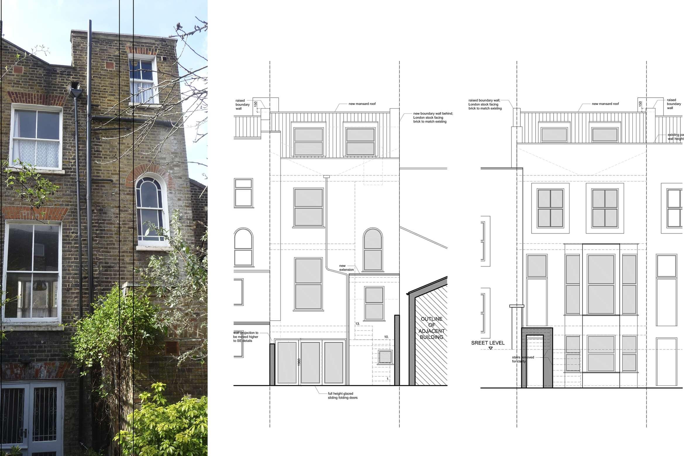 Architect designed mansard roof extension Finsbury Park Islington N7 Elevations 1 Finsbury Park, Islington N7 | Mansard roof extension