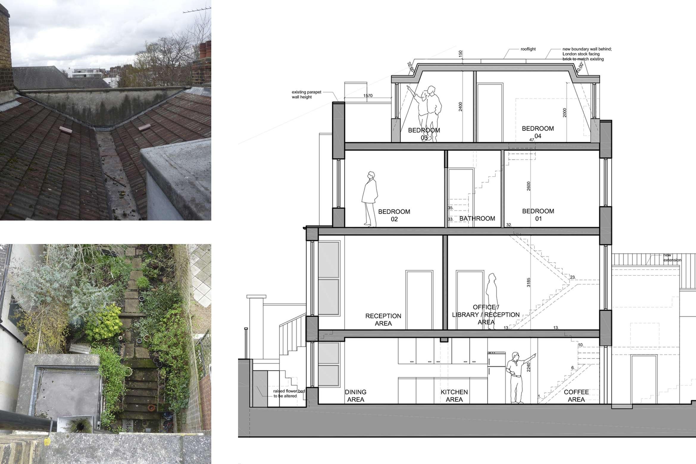 Architect designed mansard roof extension Finsbury Park Islington N7 Section 1 Finsbury Park, Islington N7 | Mansard roof extension
