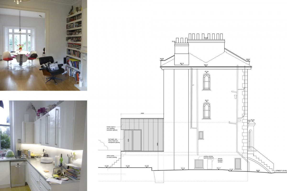 Architect designed rear house extension Tufnell Park Camden NW5 Side elevation 1200x800 Tufnell Park, Camden NW5   Rear house extension