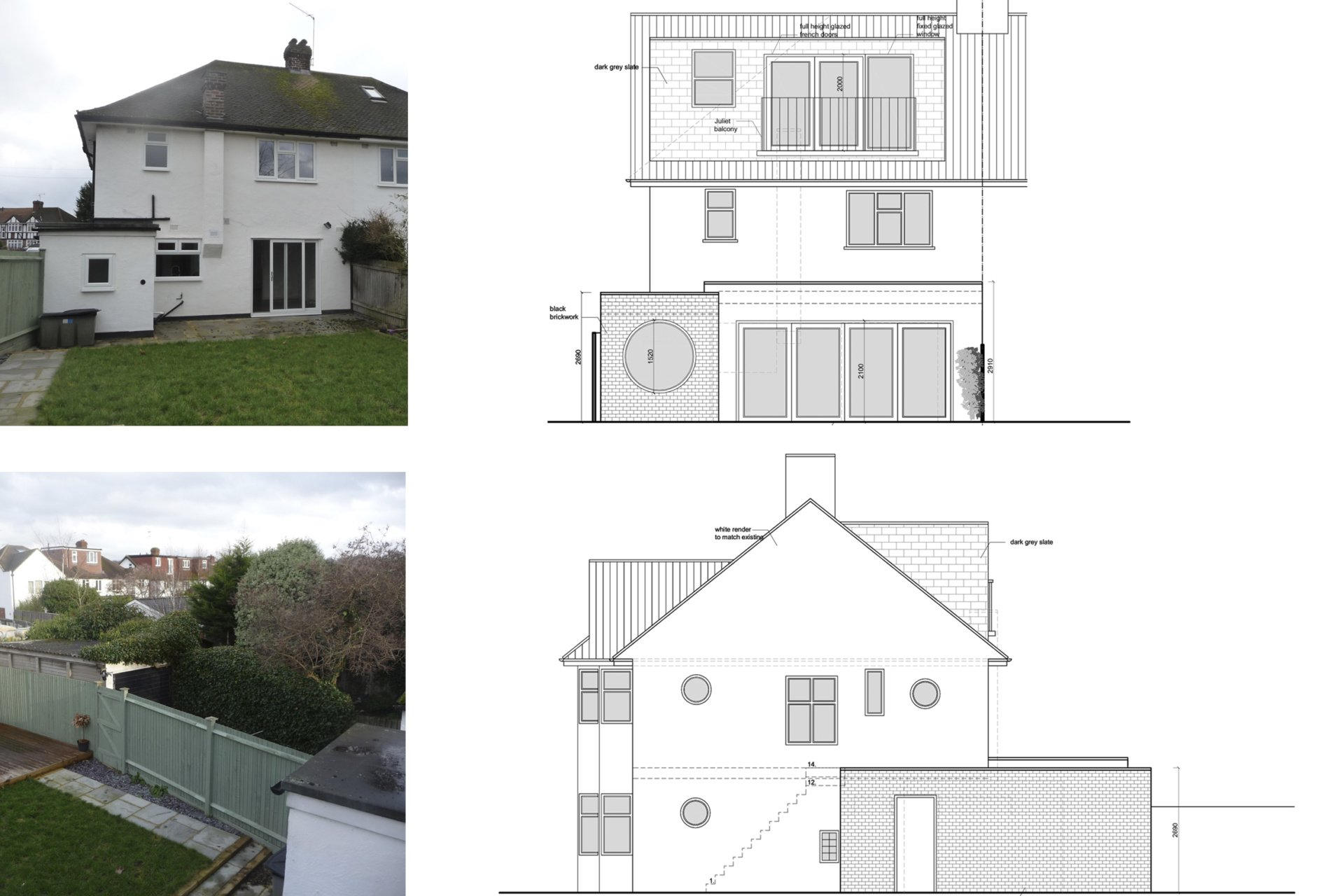 Architect designed roof and kitchen house extension Kingston KT2 Elevations 1 Kingston KT2 | Roof and kitchen house extension