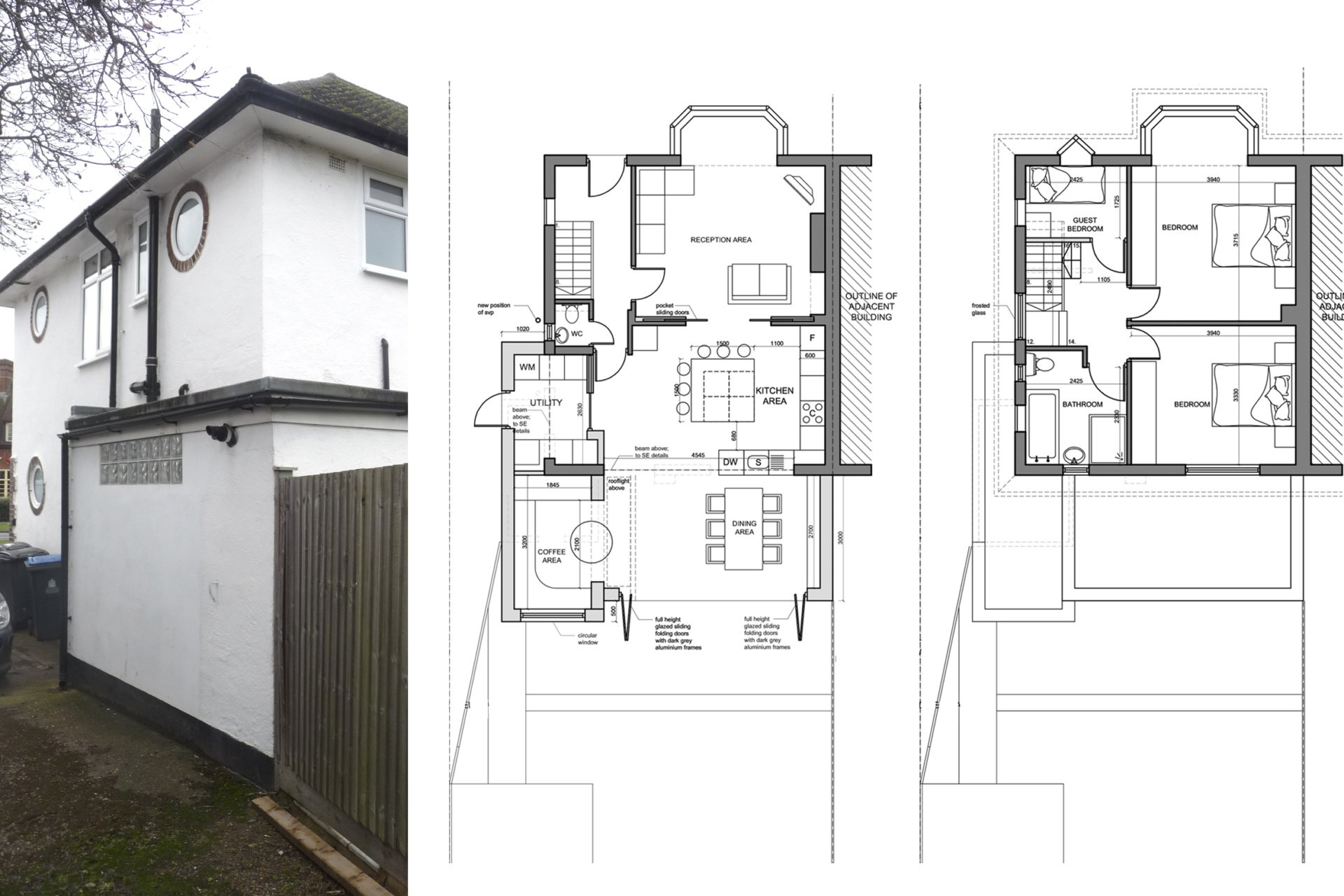 Architect designed roof and kitchen house extension Kingston KT2 Lower floor plans 1 Kingston KT2 | Roof and kitchen house extension