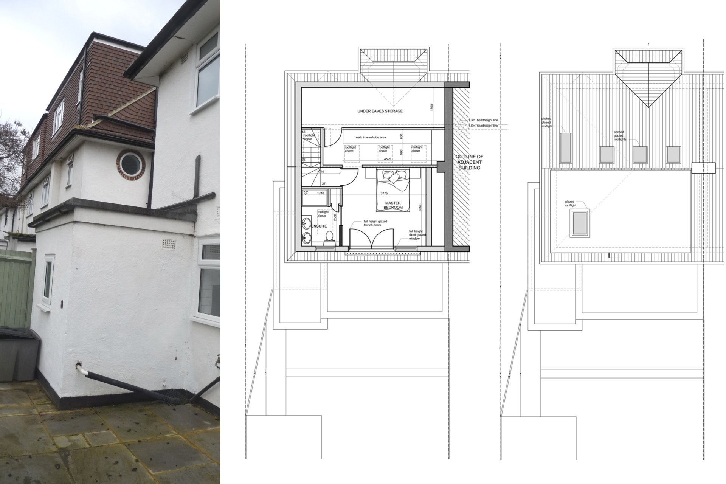 Architect designed roof and kitchen house extension Kingston KT2 Upper floor plans 1 Kingston KT2 | Roof and kitchen house extension