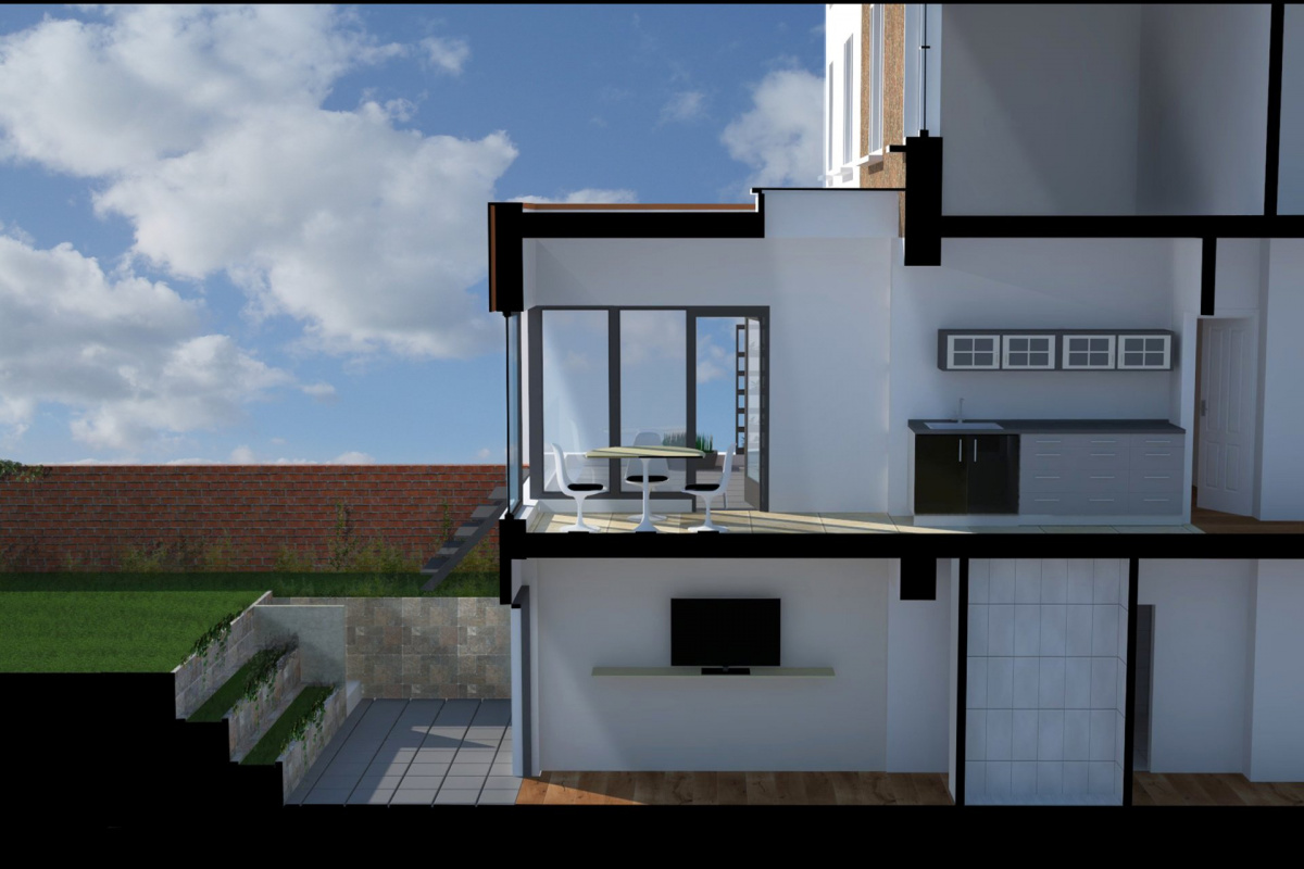 Architect designed rear house extension Tufnell Park Camden NW5 3D Section AA 1200x800 Tufnell Park, Camden NW5 | Rear house extension